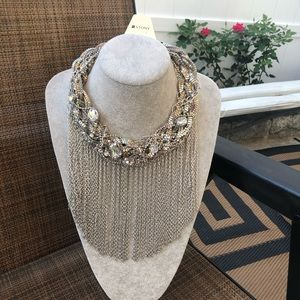 Chunky Silver Braided Chains Necklace